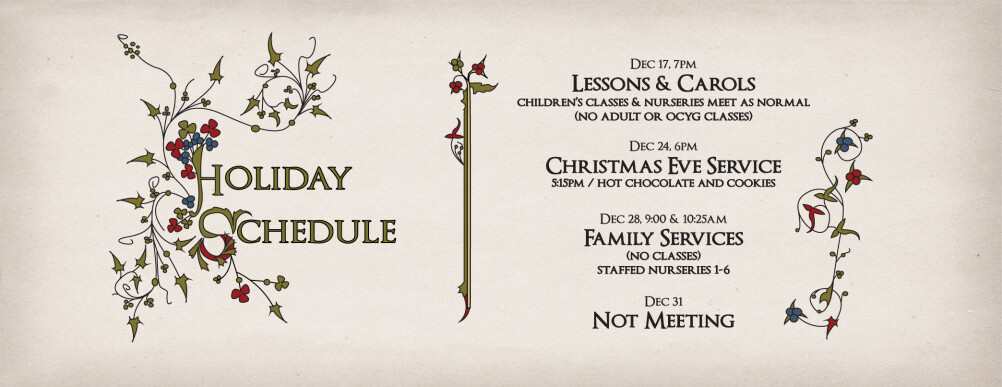Holiday Schedule 2014